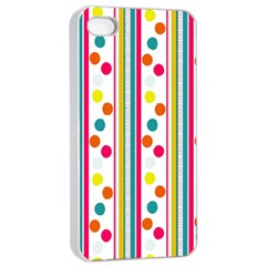 Stripes And Polka Dots Colorful Pattern Wallpaper Background Apple Iphone 4/4s Seamless Case (white)
