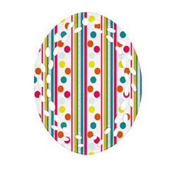 Stripes And Polka Dots Colorful Pattern Wallpaper Background Oval Filigree Ornament (two Sides)
