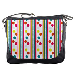 Stripes And Polka Dots Colorful Pattern Wallpaper Background Messenger Bags by Nexatart