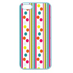 Stripes And Polka Dots Colorful Pattern Wallpaper Background Apple Seamless Iphone 5 Case (color) by Nexatart