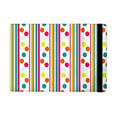 Stripes And Polka Dots Colorful Pattern Wallpaper Background Apple Ipad Mini Flip Case by Nexatart