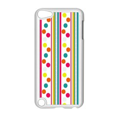 Stripes And Polka Dots Colorful Pattern Wallpaper Background Apple Ipod Touch 5 Case (white) by Nexatart