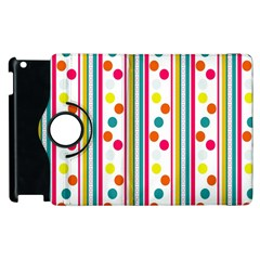 Stripes And Polka Dots Colorful Pattern Wallpaper Background Apple Ipad 2 Flip 360 Case by Nexatart