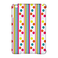 Stripes And Polka Dots Colorful Pattern Wallpaper Background Apple Ipad Mini Hardshell Case (compatible With Smart Cover) by Nexatart