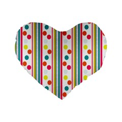 Stripes And Polka Dots Colorful Pattern Wallpaper Background Standard 16  Premium Heart Shape Cushions