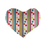 Stripes And Polka Dots Colorful Pattern Wallpaper Background Standard 16  Premium Heart Shape Cushions Front