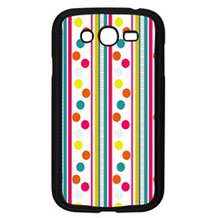 Stripes And Polka Dots Colorful Pattern Wallpaper Background Samsung Galaxy Grand Duos I9082 Case (black) by Nexatart