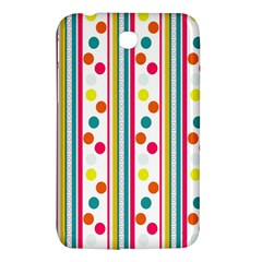 Stripes And Polka Dots Colorful Pattern Wallpaper Background Samsung Galaxy Tab 3 (7 ) P3200 Hardshell Case  by Nexatart