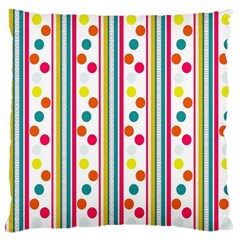 Stripes And Polka Dots Colorful Pattern Wallpaper Background Large Flano Cushion Case (two Sides) by Nexatart