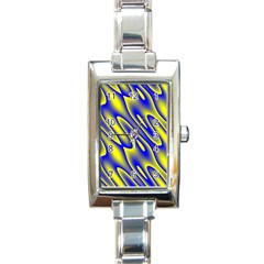 Blue Yellow Wave Abstract Background Rectangle Italian Charm Watch by Nexatart