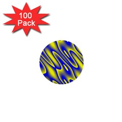 Blue Yellow Wave Abstract Background 1  Mini Buttons (100 Pack)  by Nexatart