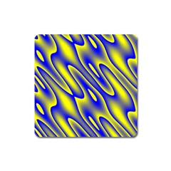 Blue Yellow Wave Abstract Background Square Magnet