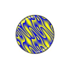Blue Yellow Wave Abstract Background Hat Clip Ball Marker by Nexatart
