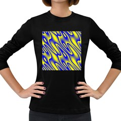 Blue Yellow Wave Abstract Background Women s Long Sleeve Dark T Shirts by Nexatart