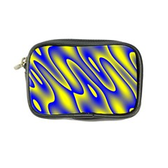 Blue Yellow Wave Abstract Background Coin Purse by Nexatart