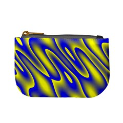 Blue Yellow Wave Abstract Background Mini Coin Purses by Nexatart