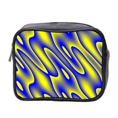 Blue Yellow Wave Abstract Background Mini Toiletries Bag 2 Side by Nexatart