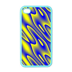 Blue Yellow Wave Abstract Background Apple Iphone 4 Case (color)