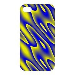 Blue Yellow Wave Abstract Background Apple Iphone 4/4s Premium Hardshell Case