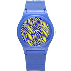 Blue Yellow Wave Abstract Background Round Plastic Sport Watch (s) by Nexatart