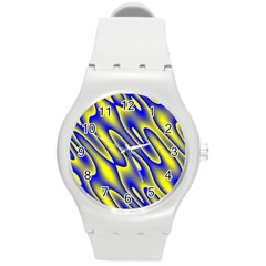 Blue Yellow Wave Abstract Background Round Plastic Sport Watch (m) by Nexatart