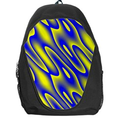 Blue Yellow Wave Abstract Background Backpack Bag by Nexatart