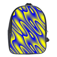 Blue Yellow Wave Abstract Background School Bags (xl)  by Nexatart