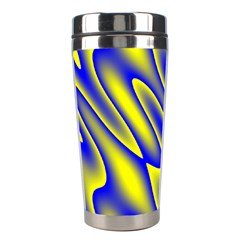 Blue Yellow Wave Abstract Background Stainless Steel Travel Tumblers by Nexatart