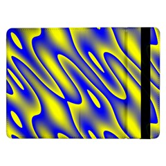 Blue Yellow Wave Abstract Background Samsung Galaxy Tab Pro 12 2  Flip Case by Nexatart