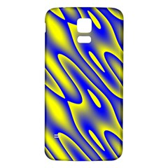 Blue Yellow Wave Abstract Background Samsung Galaxy S5 Back Case (white) by Nexatart