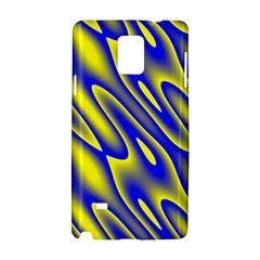 Blue Yellow Wave Abstract Background Samsung Galaxy Note 4 Hardshell Case by Nexatart