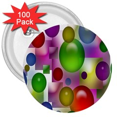 Colored Bubbles Squares Background 3  Buttons (100 Pack)  by Nexatart