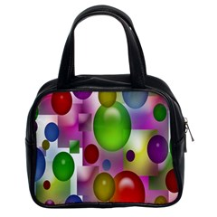 Colored Bubbles Squares Background Classic Handbags (2 Sides) by Nexatart