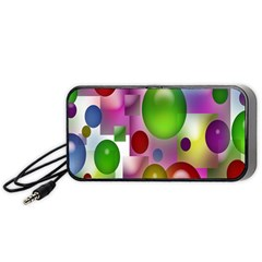 Colored Bubbles Squares Background Portable Speaker (black) by Nexatart