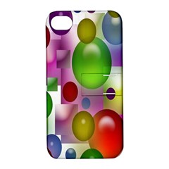 Colored Bubbles Squares Background Apple Iphone 4/4s Hardshell Case With Stand by Nexatart