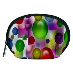 Colored Bubbles Squares Background Accessory Pouches (medium)  by Nexatart