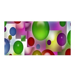 Colored Bubbles Squares Background Satin Wrap by Nexatart