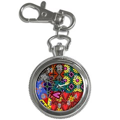 Digitally Created Abstract Patchwork Collage Pattern Key Chain Watches by Nexatart
