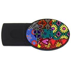 Digitally Created Abstract Patchwork Collage Pattern Usb Flash Drive Oval (2 Gb)