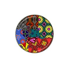 Digitally Created Abstract Patchwork Collage Pattern Hat Clip Ball Marker (4 Pack)