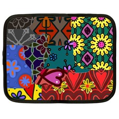 Digitally Created Abstract Patchwork Collage Pattern Netbook Case (xxl)