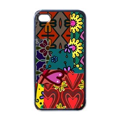 Digitally Created Abstract Patchwork Collage Pattern Apple Iphone 4 Case (black)