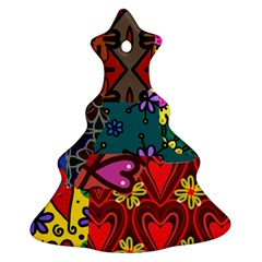 Digitally Created Abstract Patchwork Collage Pattern Christmas Tree Ornament (two Sides) by Nexatart