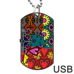 Digitally Created Abstract Patchwork Collage Pattern Dog Tag Usb Flash (two Sides) by Nexatart
