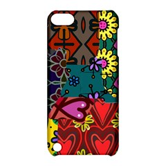 Digitally Created Abstract Patchwork Collage Pattern Apple Ipod Touch 5 Hardshell Case With Stand by Nexatart