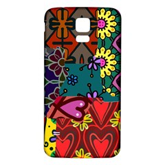 Digitally Created Abstract Patchwork Collage Pattern Samsung Galaxy S5 Back Case (white) by Nexatart
