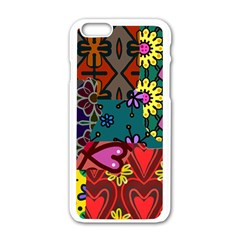 Digitally Created Abstract Patchwork Collage Pattern Apple Iphone 6/6s White Enamel Case by Nexatart