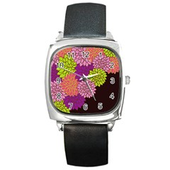 Floral Card Template Bright Colorful Dahlia Flowers Pattern Background Square Metal Watch by Nexatart