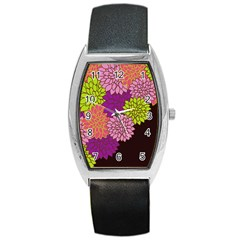 Floral Card Template Bright Colorful Dahlia Flowers Pattern Background Barrel Style Metal Watch