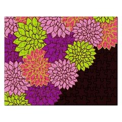 Floral Card Template Bright Colorful Dahlia Flowers Pattern Background Rectangular Jigsaw Puzzl by Nexatart